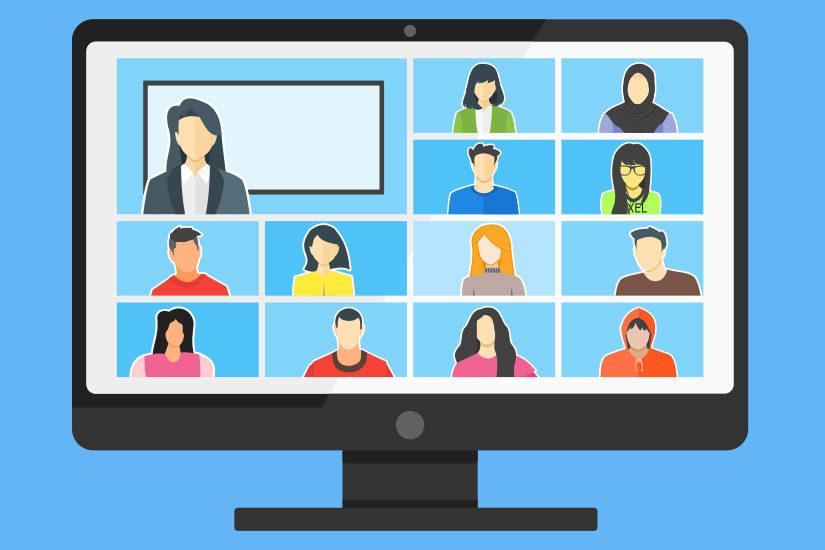 Cartoon image of computer screen during virtual meeting